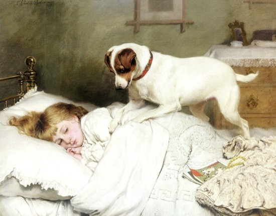Charles Burton Barber - Time to Wake Up With Smooth Coated Fox Terrier 1883