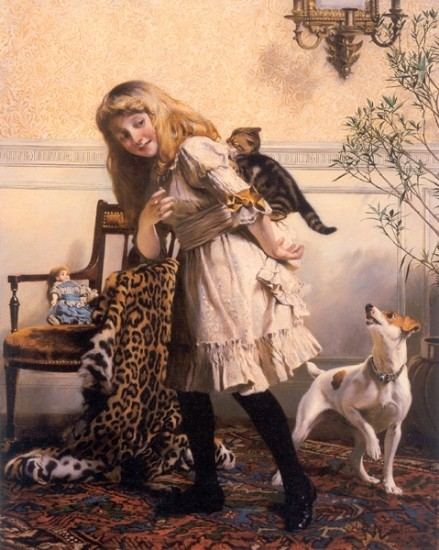 Charles Burton Barber - Any Port in a Storm Fox Terrier and Kittens Victorian Painting