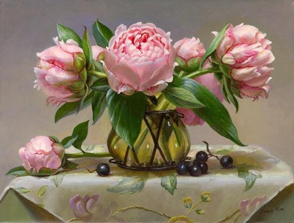 Peonies and Grapes.