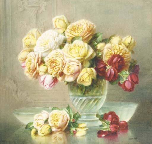 Roses in a glass bowl on a ledge