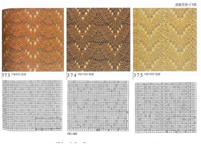 красивые узоры для вязания спицами для шарфов. ажурные схемы и узоры...