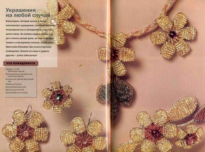Фантазийные цветы из бисера и ниток мулине.  Традиция изготовления цветов и украшений при помощи пружинок пришла к.