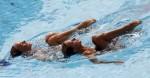 Иглика Големинова и Калина Йорданова (Iglika Goleminova and Kalina Yordanova) из Болгарии. Выступление пар на чемпионате Европы по синхронному плаванию в Будапеште, 5 августа 2010 года.