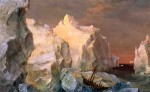 Icebergs and Wreck in Sunset 1860
