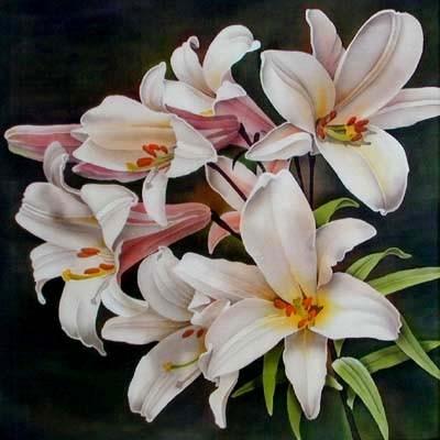 Батик .  Леонард Томпсон.  Цветы.