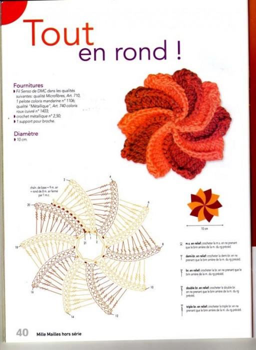 Связать цветок крючком на шапочку схема