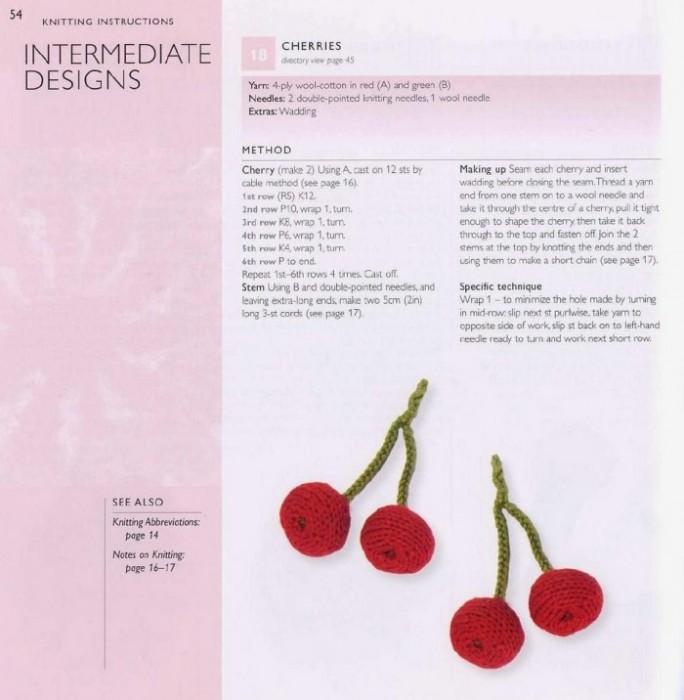 Вязаные фрукты спицами