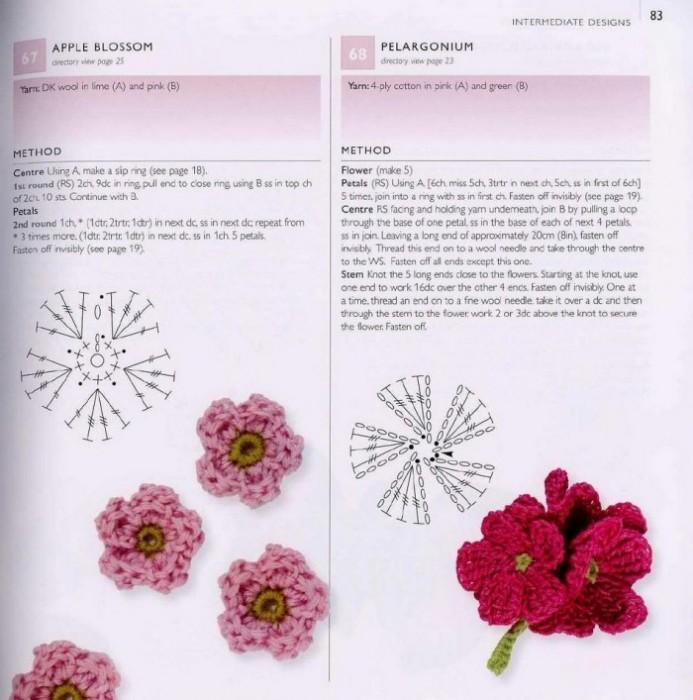 Цветы крючком схемы для начинающих