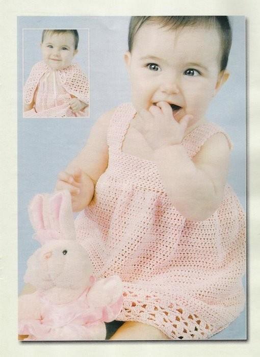 Подборка схем вязания крючком - платья для девочек.