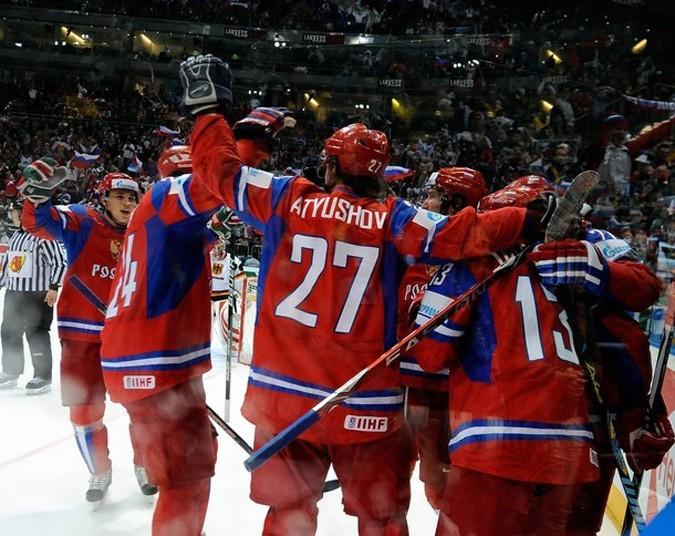 Чемпионат мира по хоккею, квалификационный раунд между Россией и Германией в Lanxess Arena, Кельн, Германия, 15 мая 2010 года.