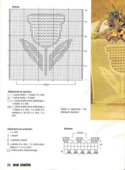Схемы филейного вязания крючком тюльпан 11