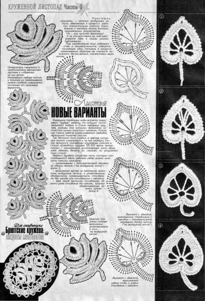 Вязаные листья крючком. вяжущие вещества, вязанные тапочки схема.