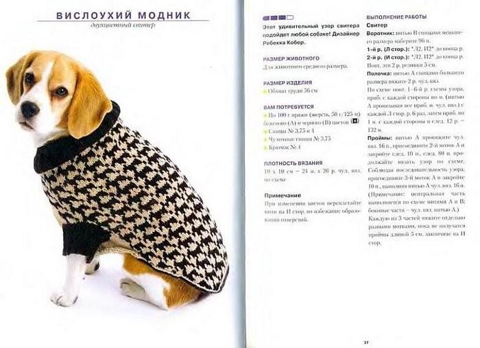 Вязаные вещи для собак мелких пород своими руками