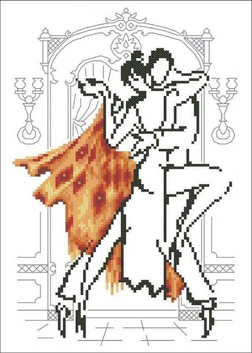 Монохромная вышивка танцующая пара