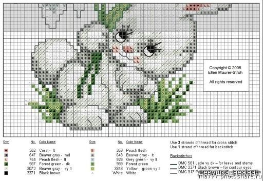 Схема для вышивки крестиком зайчиков