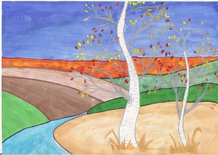 Нарисовать осенний пейзаж карандашом