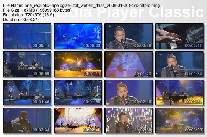 One Republic - Apologize (Live Wetten Dass 08) (DVD Rip)