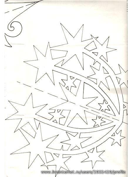 Схема Звездопада br /Вырезать много штук и склеить между собой.