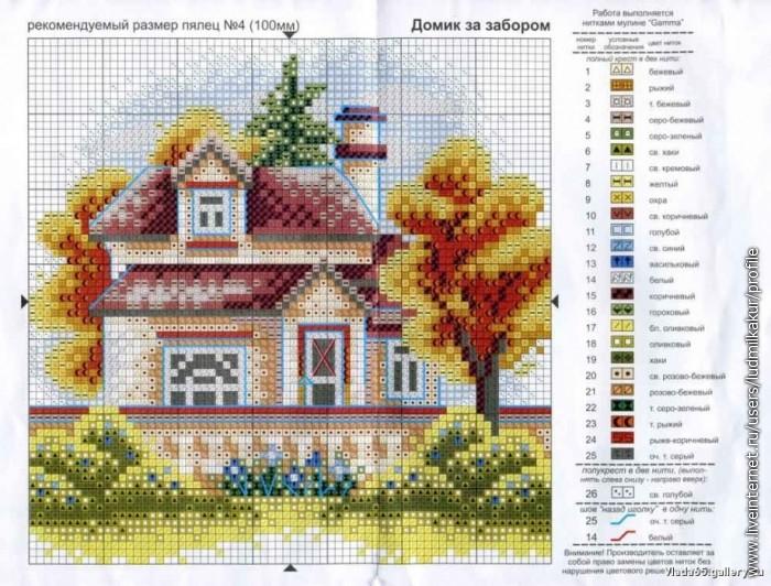 Вышивка крестом дом милый дом схема 36