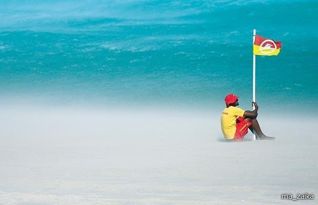 Штормовой ветер в лагерях Bay Beach, Южная Африка.