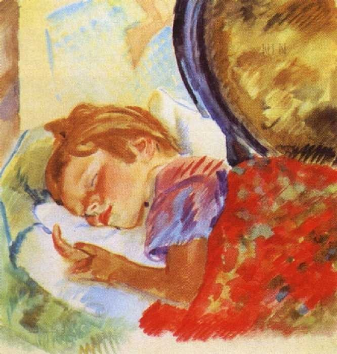 Портрет девочки (Спящая девочка). 1929. Акварель.