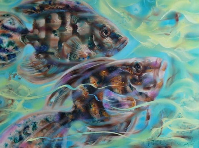 """Схема вышивки  """"Волшебные рыбки """": схема."""