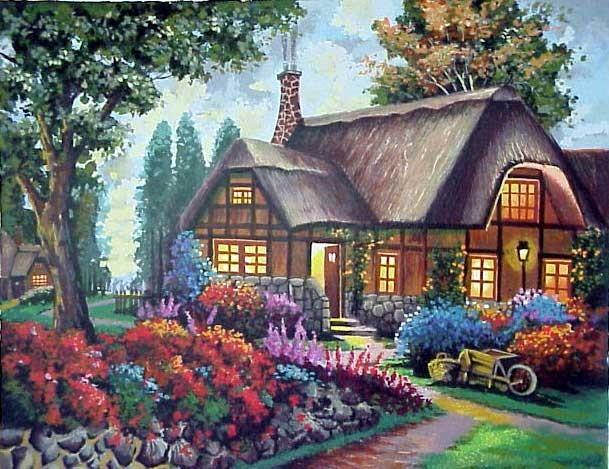 """Схема вышивки  """"Домик в саду """" ."""