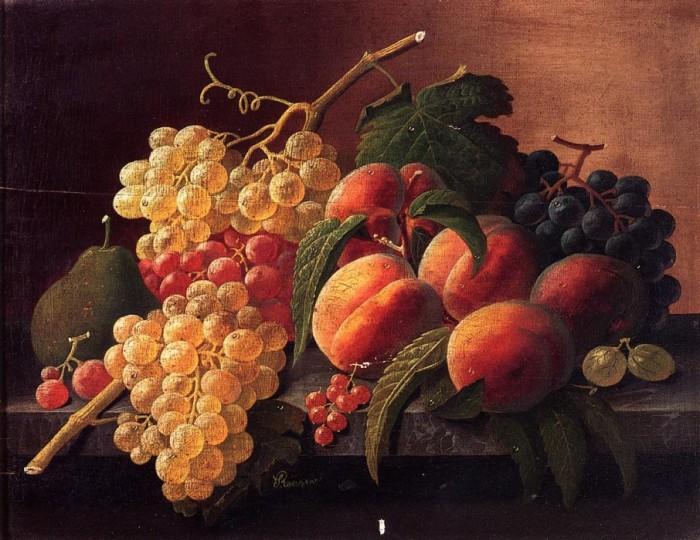 Натюрморт с фруктами, птичьим гнездом и фужером вина