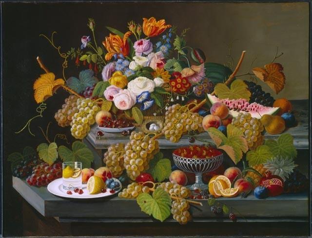 Натюрморт с фруктами и цветами. 1855