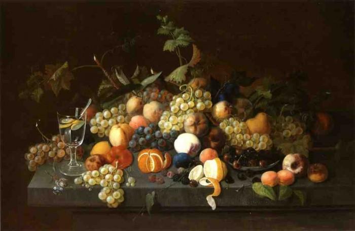 Натюрморт с фруктами и стаканом лимонада. 1850