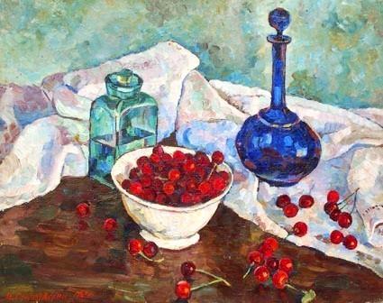Gumilevski still life with cherries 1947