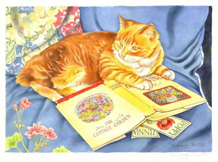 Garden Cat & Book