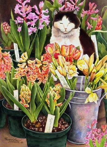 Cat & Hyacinths