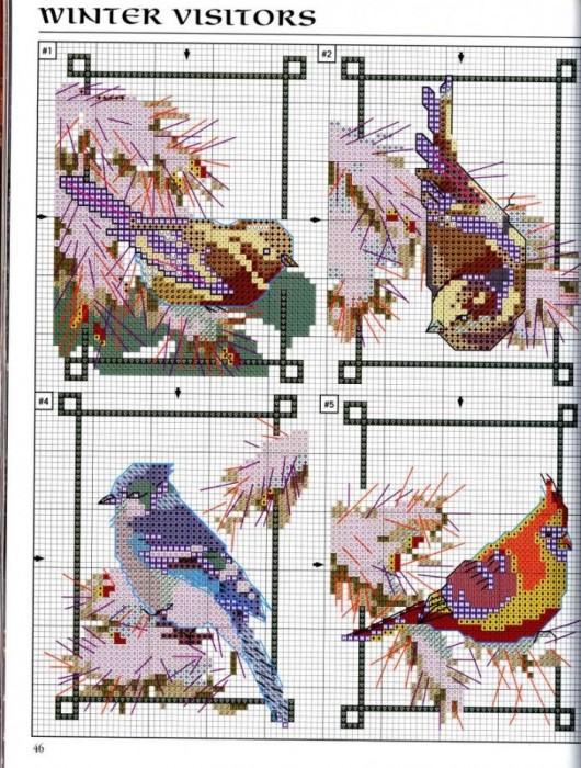 """Схема вышивки """"Птицы""""."""