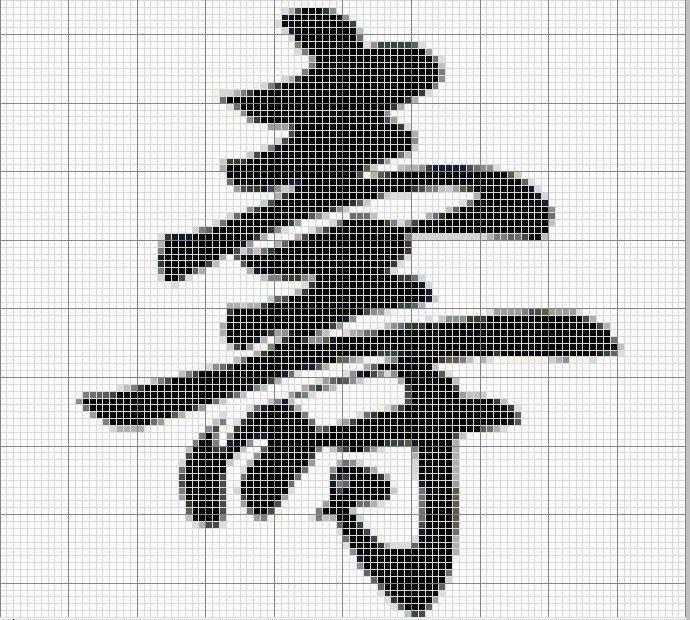 Иероглиф схема вышивки крестом.