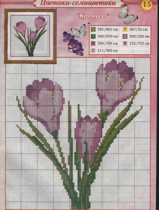 """Воскресенье, 27 Декабря 2009 г. 19:53. цветы. серия. схемы.  Схемы вышивки крестиком  """"Цветы """". вышивка. в цитатник..."""