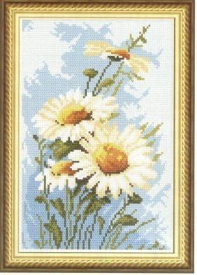Схема вышивки полевые ромашки
