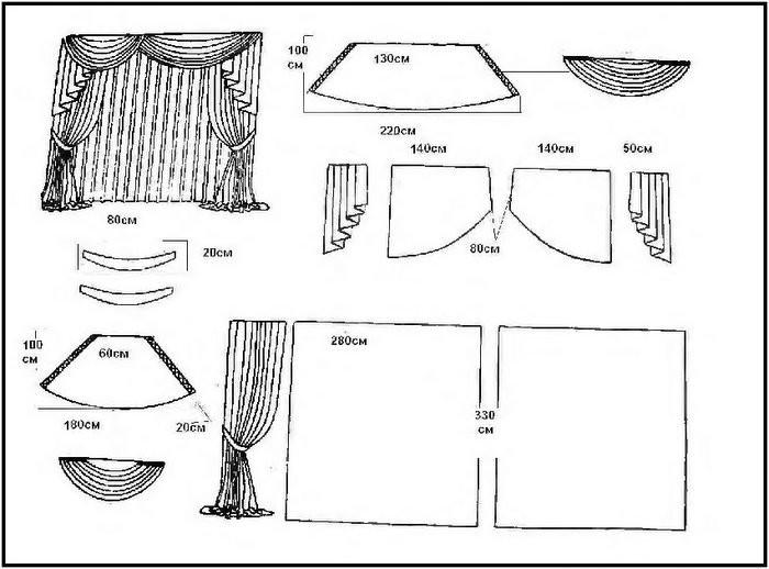 Модель 12 Особенность этой модели - асимметричный ламбрекен, состоящий из двух сваг разной ширины и симметрично...