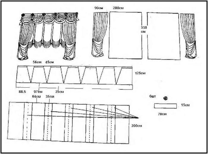 Модель 15 И опять асимметрия, ламбрекен отличается от других моделей очень широкой свагой.