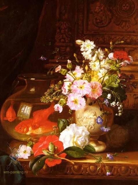Джон Уэйнрайт букет цветов, натюрморт в живописи