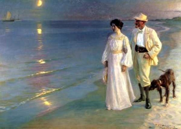 "Peder Severin Kroyer Norwegian/Danish 1851 - 1909 ""Summer Evening on the Beach at Skagen"""