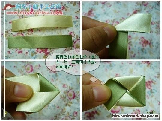 Цветочки из атласных лент на резинку своими руками