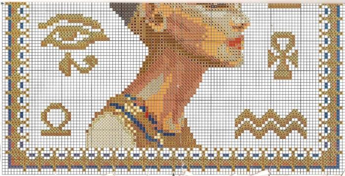 Нефертити схема вышивки крестом