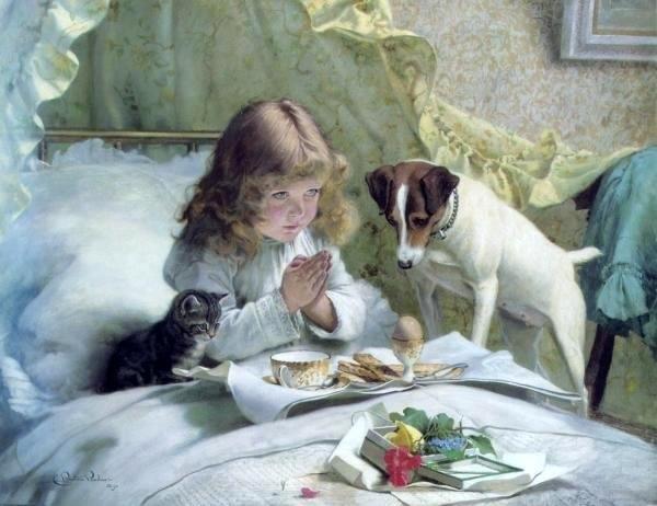 Charles Burton Barber (1845-1894.) Английский художник, был очень популярен, писал внуков королевы с их любимыми питомцами.