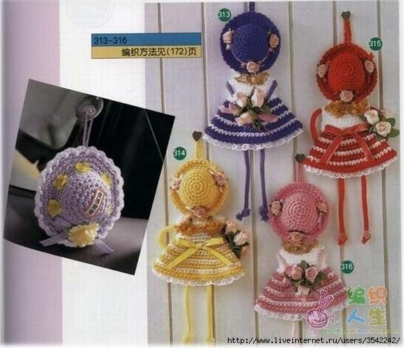 Вязанные куколки на холодильник