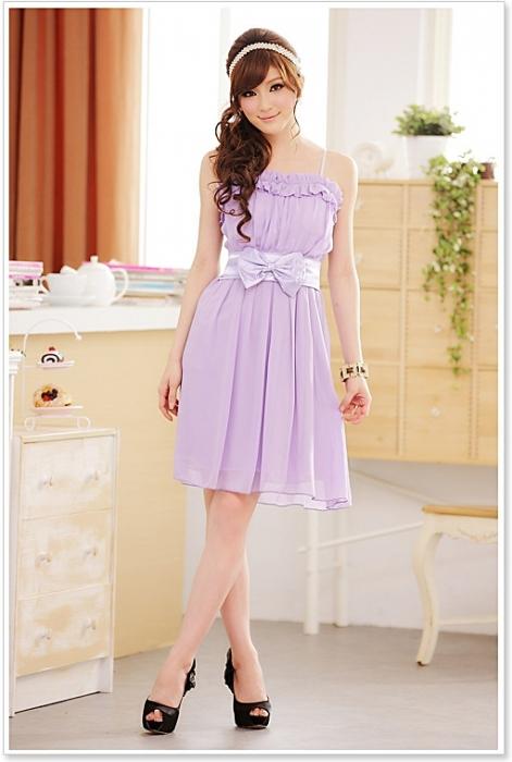 оптом Платье фиолетового из шифона.
