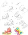 пчелку,попугая,утенка,мышку,кита,шишку,и даже мужчину в самом расцвете сил).  Простые схемки,которые научать рисовать.