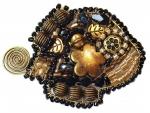 Металл, бронза, латунь, пластиковые бусины, стеклянные бусины, металлические бусины, проволока, Swarovski, бисер Miyuki, бисер TOHO, бусины из бронзы и покрытые золотом 14к. Размеры  6см Х 4.5см
