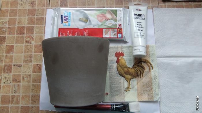 Горшок, Мотив, краска, моделирующая паста.
