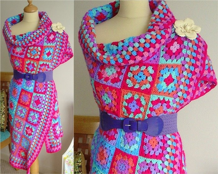 платье из квадратов крючком схемы